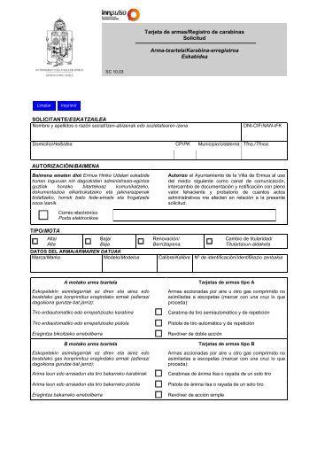 Tarjeta de armas/Registro de carabinas Solicitud Arma-txartela ...