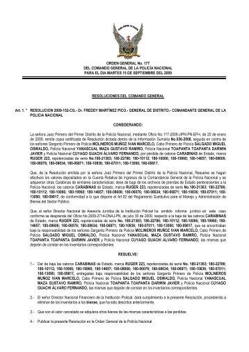 ORDEN GENERAL No. 177 DEL COMANDO GENERAL DE LA ...