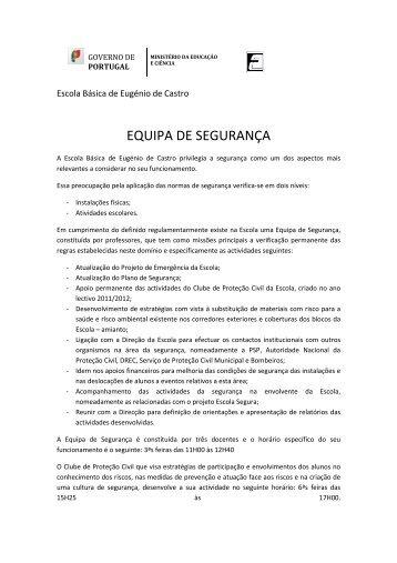 EQUIPA DE SEGURANÇA - Escola Eugénio de Castro
