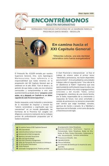 "Boletín ""Encontrémonos"", Mayo - Agosto de 2009 - provincia santa ..."