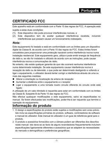 Português CERTIFICADO FCC Informação do produto