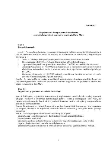 Anexa nr. I Regulamentul de organizare şi funcŃionare a serviciului ...