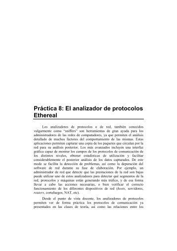 Práctica 8: El analizador de protocolos Ethereal - Redes de ...