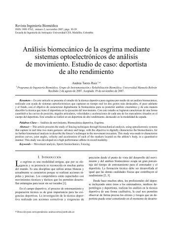 Análisis biomecánico de la esgrima mediante sistemas - Revista ...