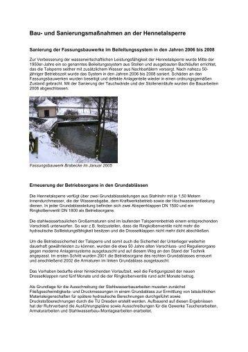 Bau- und Sanierungsmaßnahmen an der ... - Ruhrverband