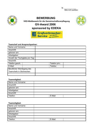 bewerbung gv award 2006 sponsored by edeka rullko - Bewerbung Edeka