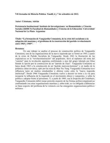 La formación de Vanguardia Comunista, de la ... - Historia Política