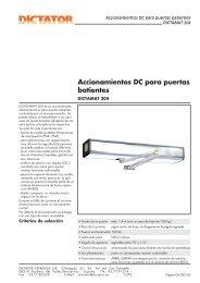 Accionamientos DC para puertas batientes - DICTATOR