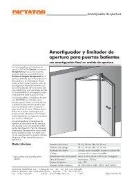 Amortiguador y limitador de apertura para puertas batientes - Dictator
