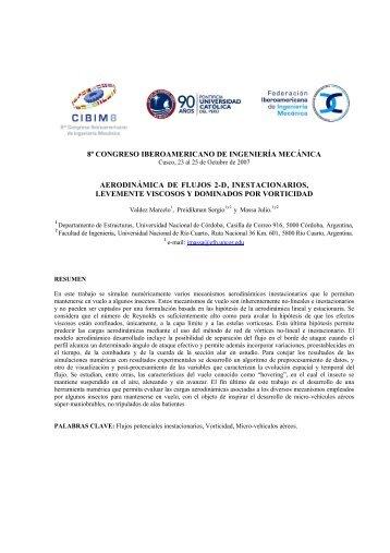 8º congreso iberoamericano de ingeniería mecánica aerodinámica ...