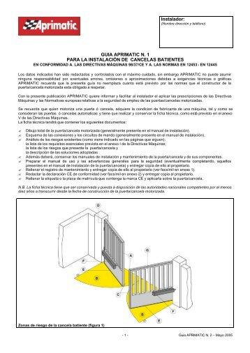 Guia N 2 puertas batientes - Aprimatic