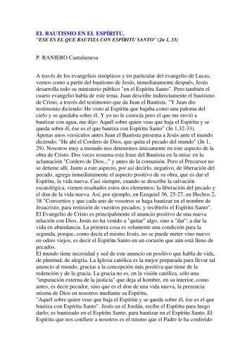 EL BAUTISMO EN EL ESPÍRITU. P. RANIERO ... - Gratuidad