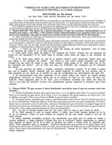 VERSÍCULOS ACERCA DEL BAUTISMO CON RESPUESTAS (M ...