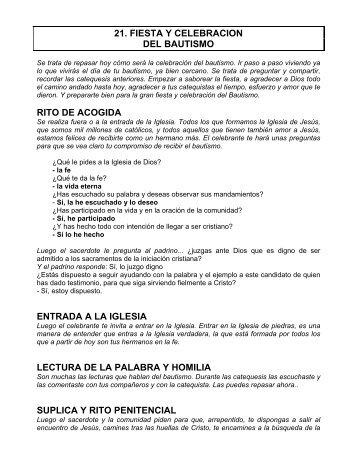 21. FIESTA Y CELEBRACION DEL BAUTISMO RITO DE ACOGIDA ...