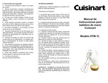 Manual de instrucciones para batidora de mano Cuisinart Modelo ...