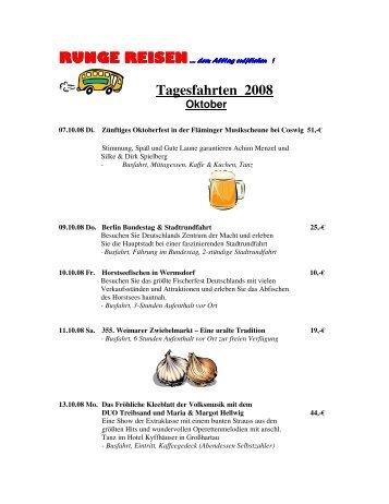 RUNGE REISEN Tagesfahrten 2008