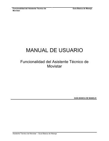 Manual de usuario Asistente técnico ADSL - Movistar