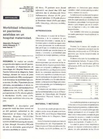 Morbilidad infecciosa en pacientes asistidas en un hospital ...