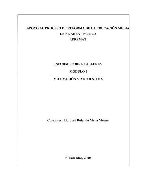 Informe Talleres Motivacion Y Autoestima Ministerio De