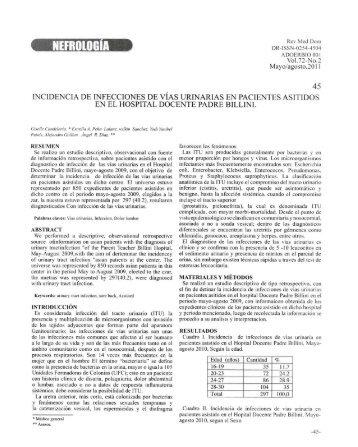 Incidencia de infecciones de vías urinarias en pacientes asistidos ...