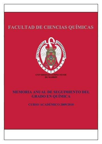 Memoria anual de seguimiento del Grado en Química - Facultad de ...