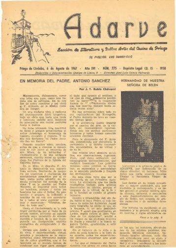 Priego de Córdoba, 6 de Agosto de 1967 - Año ... - Periódico Adarve