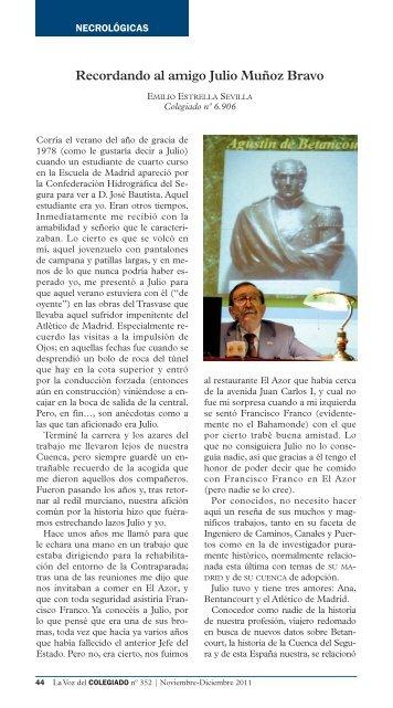 Recordando al amigo Julio Muñoz Bravo - Colegio de Ingenieros de ...