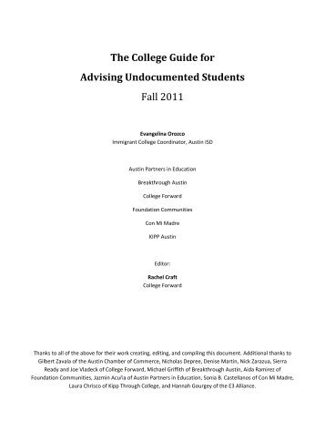 The College Guide for Advising Undocumented ... - College Forward