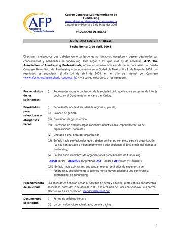 Convocatoria a Becas - Association of Fundraising Professionals