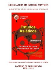 LICENCIATURA EM ESTUDOS ASIÁTICOS - Faculdade de Letras ...
