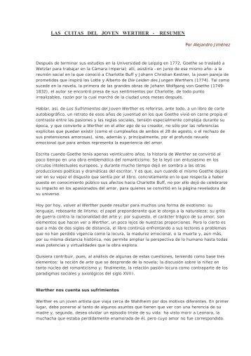 LAS CUITAS DEL JOVEN WERTHER - RESUMEN - WordPress.com
