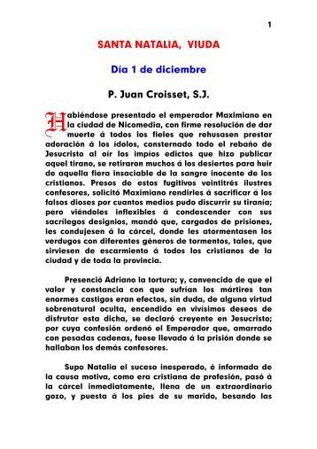 SANTA NATALIA, VIUDA Día 1 de diciembre P. Juan Croisset, S.J.