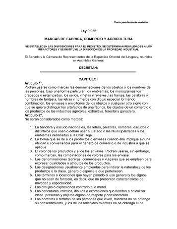 Ley 9.956 MARCAS DE FABRICA, COMERCIO Y AGRICULTURA ...
