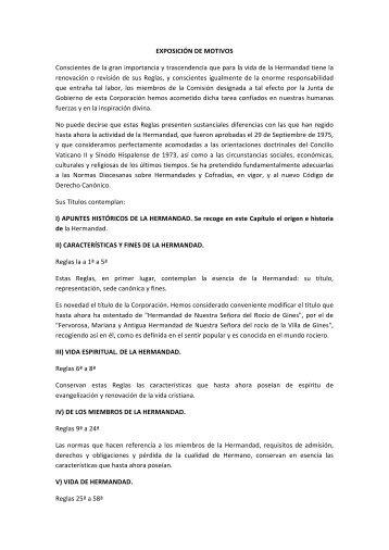 REGLAS DE LA HERMANDAD DEL ROCIO - Hermandad del Rocío ...