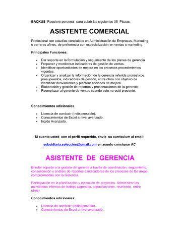 ASISTENTE COMERCIAL ASISTENTE DE GERENCIA