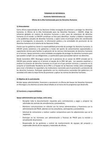 TERMINOS DE REFERENCIA Asistente Administrativa (o) Oficina ...