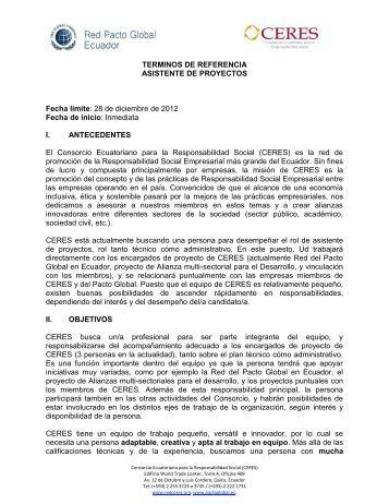 TERMINOS DE REFERENCIA ASISTENTE DE ... - CERES Ecuador