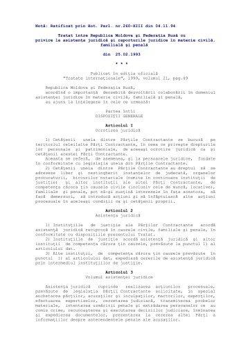 Tratat între Republica Moldova şi Federaţia Rusă cu privire la ...