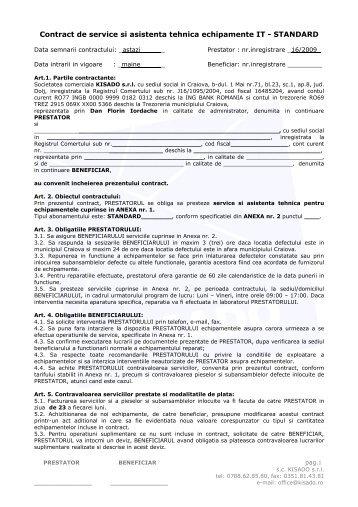 Contract de service si asistenta tehnica echipamente IT ... - KISADO