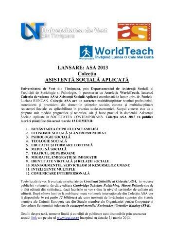 LANSARE: ASA 2013 Colecția ASISTENȚĂ SOCIALĂ APLICATĂ