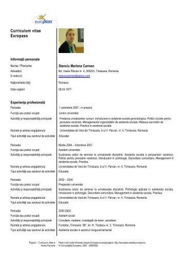 CV Romana - Facultatea de Sociologie si Psihologie - Universitatea ...