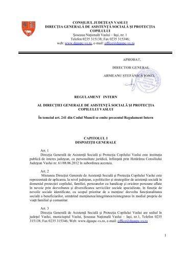 Regulament intern al DGASPC Vaslui.
