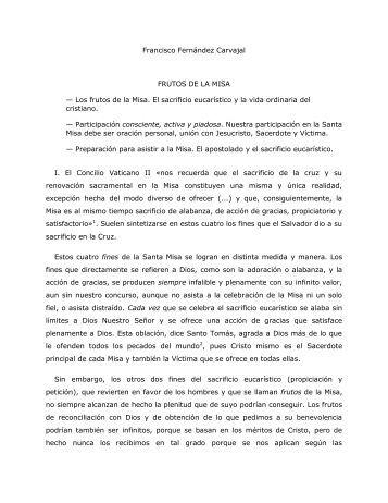 Francisco Fernández Carvajal FRUTOS DE LA MISA - Homiletica.org