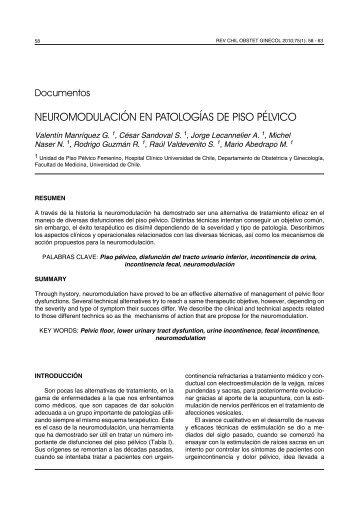 NEUROMODULACIÓN EN PATOLOGÍAS DE PISO PÉLVICO - SciELO