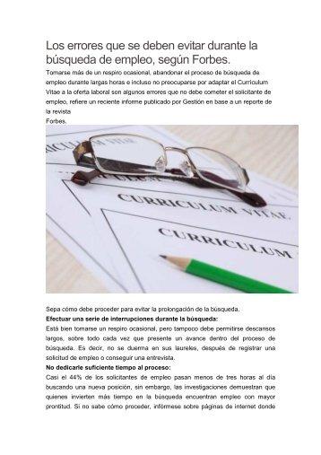 [PDF] Los errores que se deben evitar durante la búsqueda de empleo