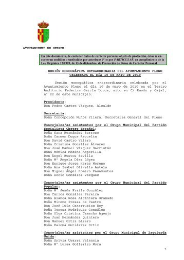 Acta de la Sesión Extraordinaria del Ayuntamiento Pleno de 10 de ...