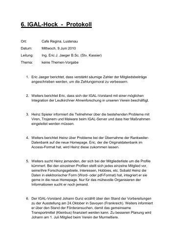2010 JAEGER 39-01 Protokoll