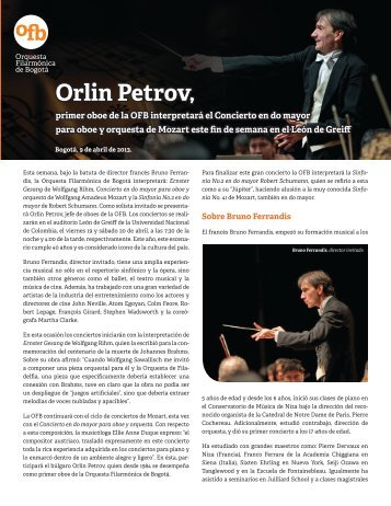 Orlin Petrov, - Orquesta Filarmónica de Bogotá