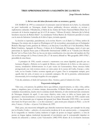 Salomón de la Selva - Revista de Temas Nicaragüenses