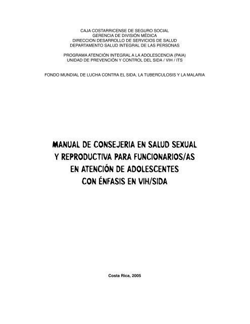 Manual De Consejeria En Salud Sexual Y Reproductiva Para